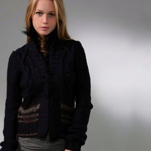 Free People Navy North Star Cardigan Faux Fur S